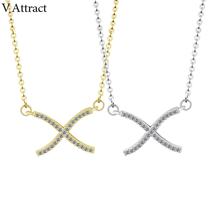 V Attract 10 PCS Minimalism CZ Cross Pendant Necklace for Women Vintage Jewelry Gold Silver Boho Collier Femme Valentine&39;s Gift