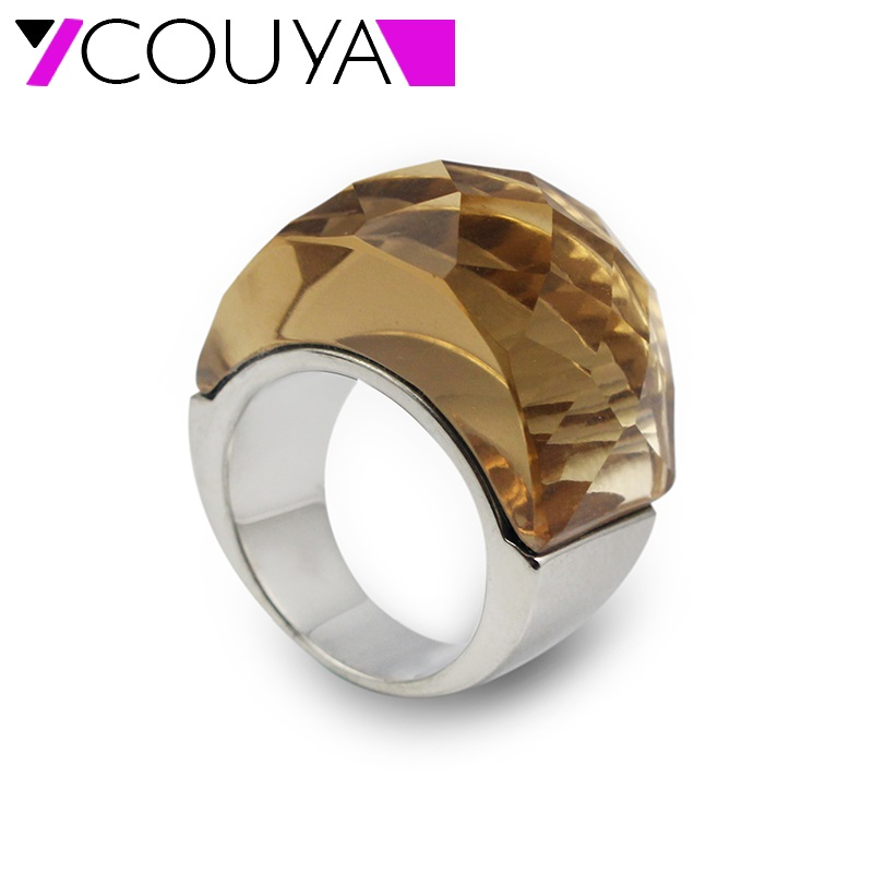 COUYA Fashion Big Rings for Women 5 Colors Red Green Orange Black Crystal Finger Ring Big Glass Stone Wedding Rings Jewelry