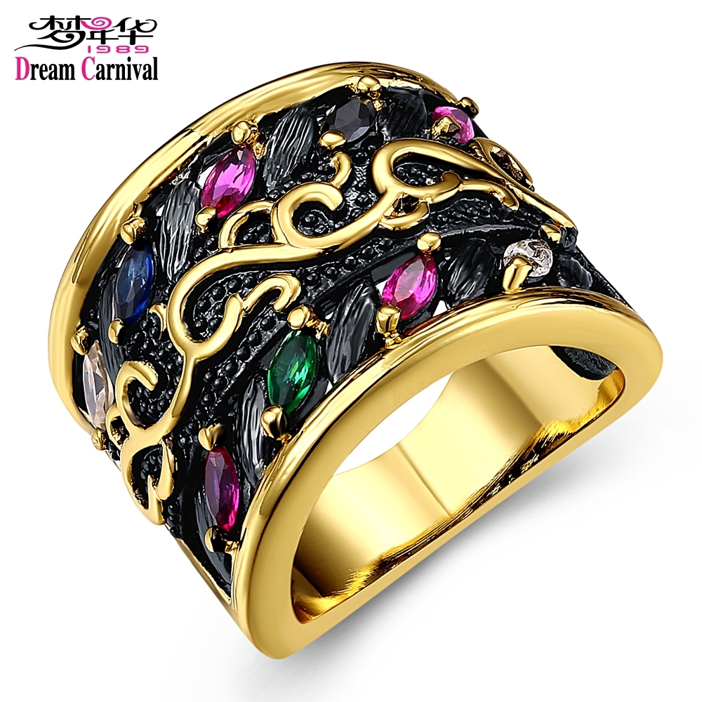 Dreamcarnival1989 Black Body Gold-color Edges Vintage Party Rings for Women 5 Colors CZ Anillos de mujer Size 6 7 8 9 Wide 17 mm