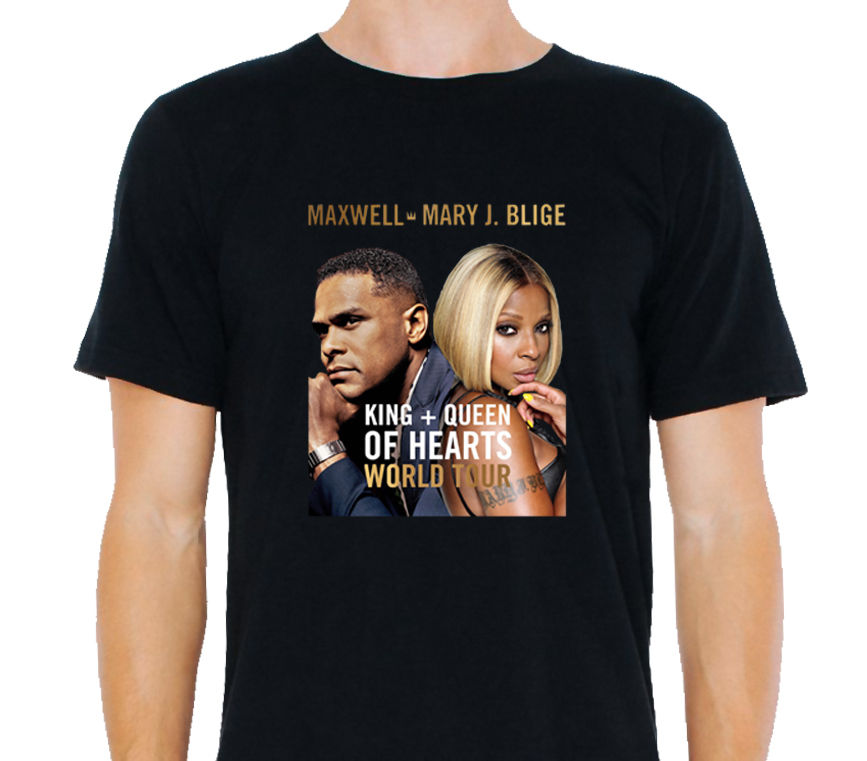 Maxwell ve Mary J Blige King & Queen of Hearts Tour 2018 T-Shirt Boyutu: S-to-3xl Mans Benzersiz Pamuk Kısa Kollu O-Boyun T Gömlek