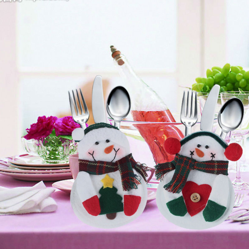 8Pcs/Lot Kitchen Cutlery Suit Silveware Holders Porckets Knifes Folks Bag Snowman Shaped Pouch Christmas Party Decor Supplies