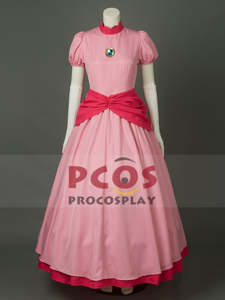Super Mario Bros Prenses Şeftali Pembe Cosplay Kostüm & Crown mp003319