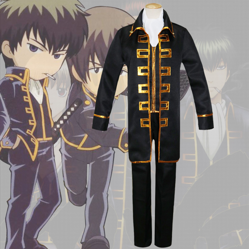 Anime GINTAMA Cosplay Kostüm Okita Sougo Halloween Party Cosplay Giyim Ceketler + Pantolon + Yelek + eşarp + Yama